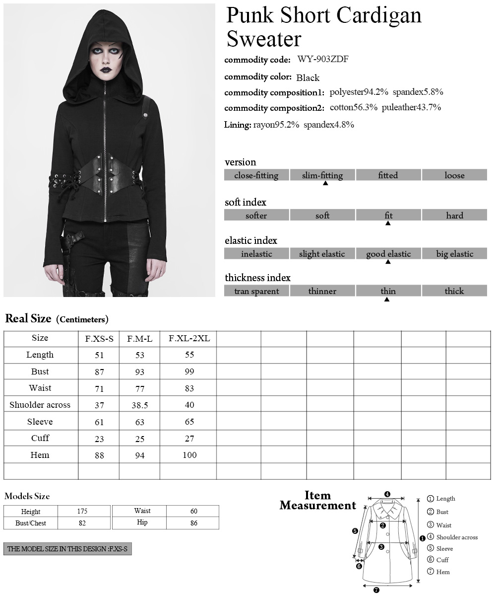 WY-903BK Punk high collar hoodie women zip up short hoodies with leather patches Punk Rave
