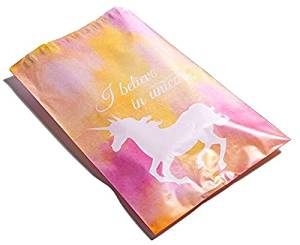 Poly Mailers Unicorn Desigenr Mailers Custom Boutique Shipping Bags Pink, Yellow, Blue Green #SmileMail (100 6x9 Pink)
