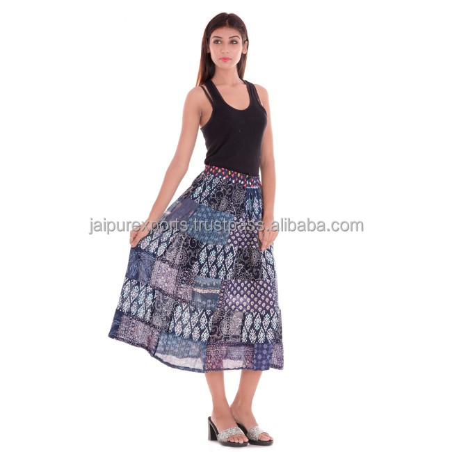Patchwork short skirt Gypsy Hippie Cotton skirt