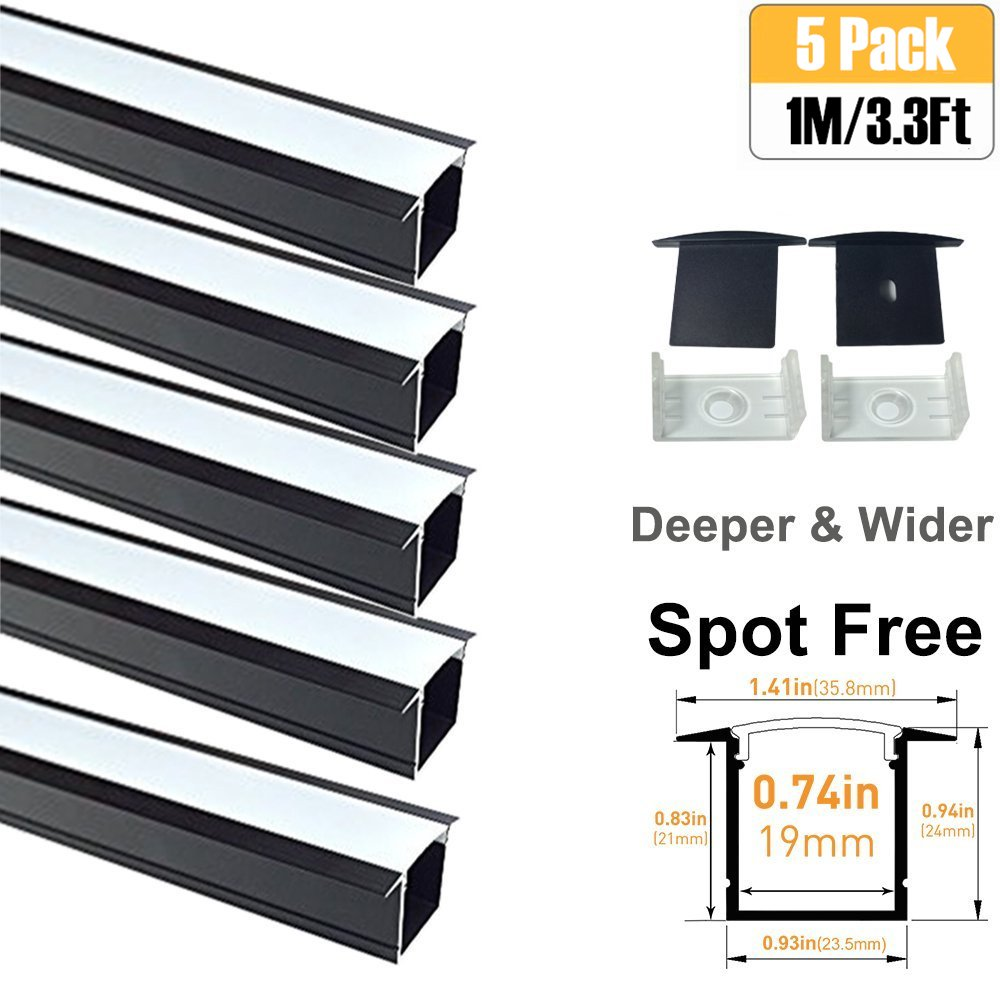 LightingWill Spot Free U Shape LED Aluminum Channel 5-Pack 3.3ft/1M 36x24mm Anodized Black Track Internal Width 20mm with Cover End Caps Mounting Clips for Cabinet Kitchen LED Strip Lighting-U05B5