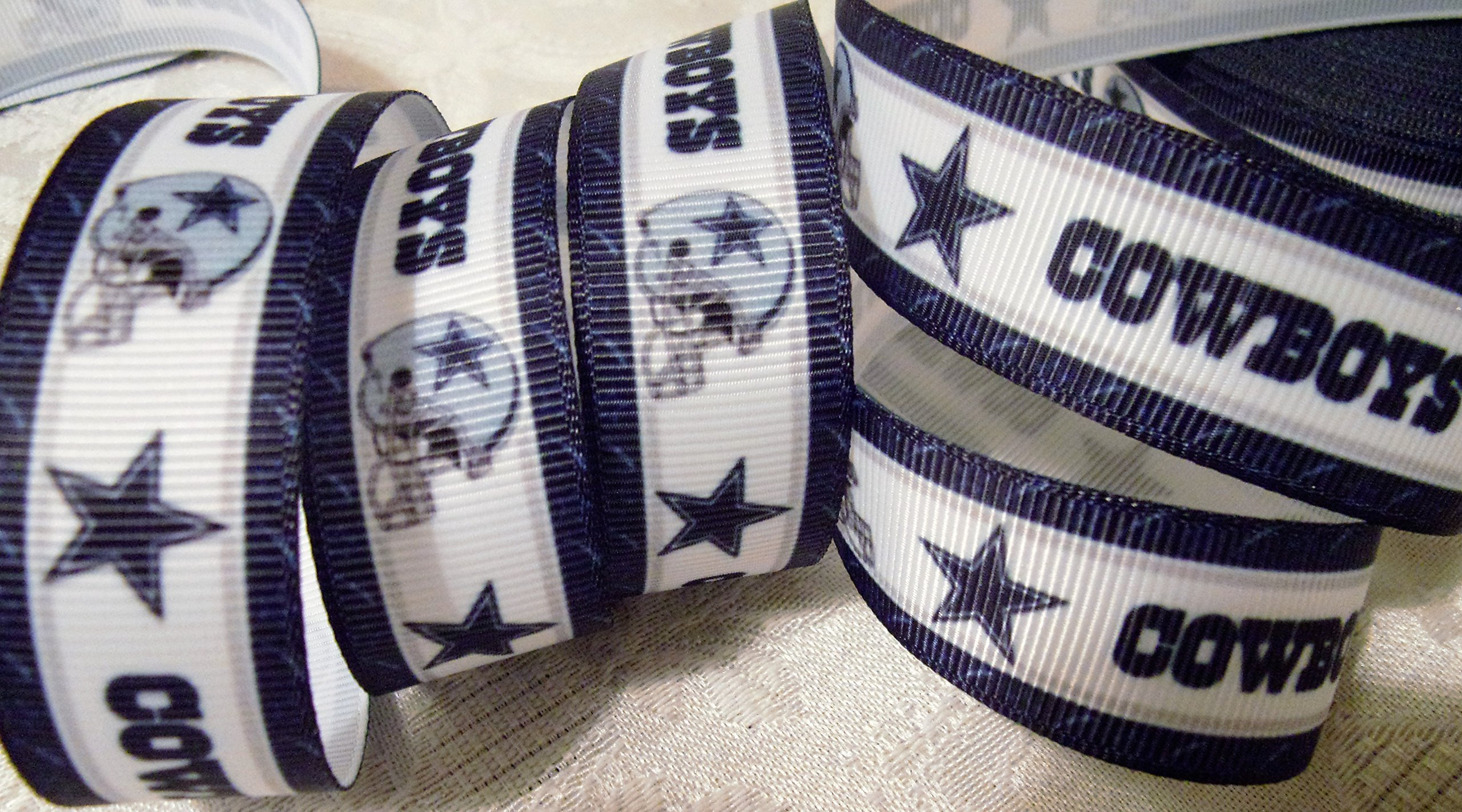 "Grosgrain Ribbon - *COWBOYS INSPIRED SPIRIT PRINT #3* - 7/8"" Wide - 5 Yards - Hair Bows & Crafts"