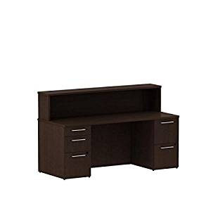 "Bush Office Reception Desk 71.1""W X 29.6""D X 43""H Features 72"" Wide, 30"" Deep Footprint Perfect For Doctor""S Office/Legal Office Waiting Area     - Mocha Cherry"