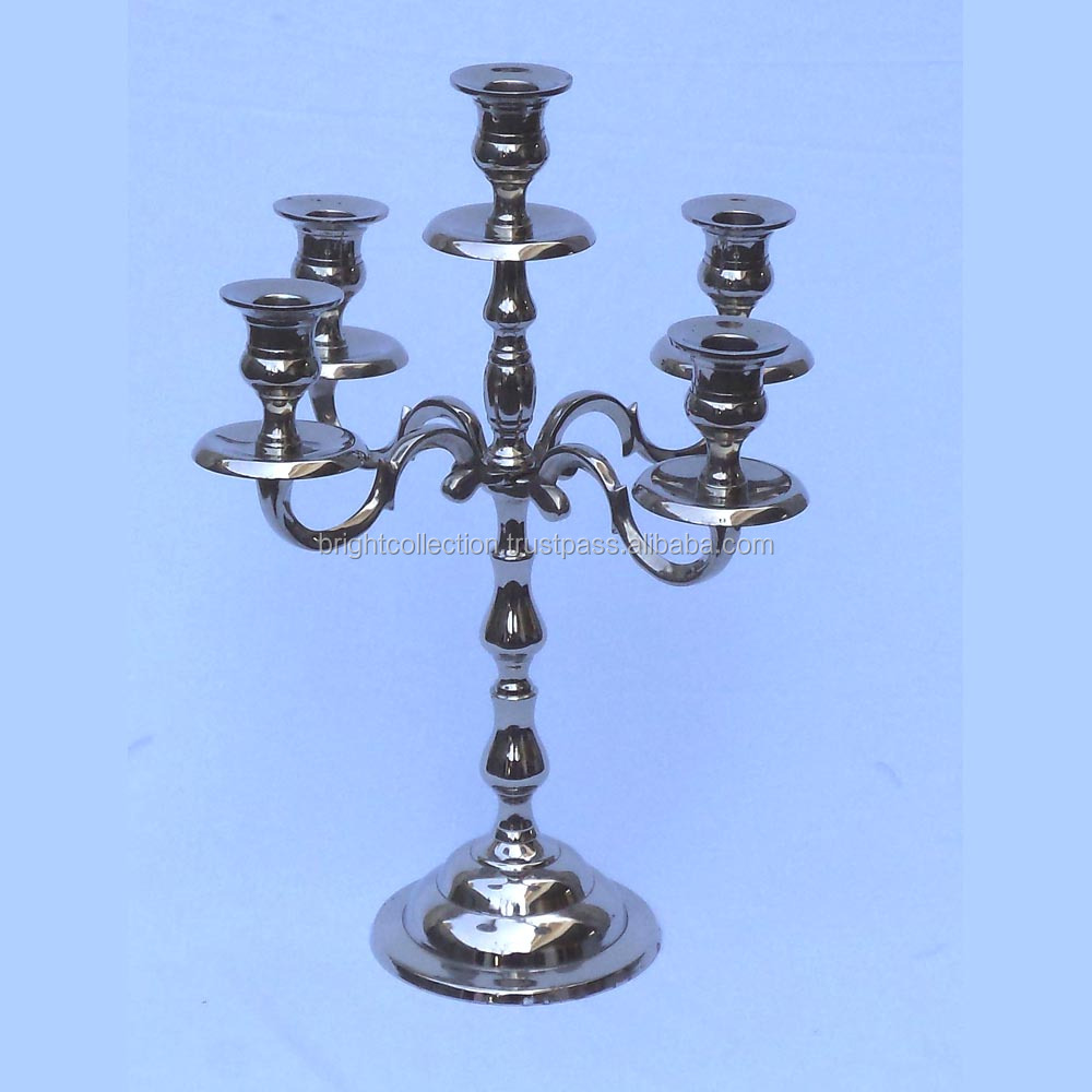 Aluminium Candelabra 5 Arm Nickel Plated