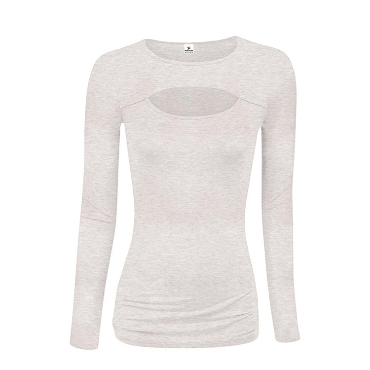 Women fashion trend keyhole cut blouse long sleeve tops