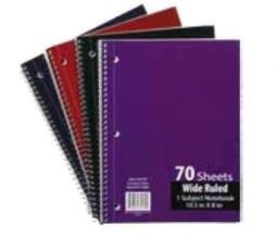 Emraw Single Subject Notebook Spiral with 70 Sheets of Wide Ruled White Paper - Set Includes: Red, Black, Purple, & Blue Covers (4 Pack)