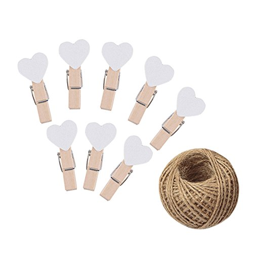 100 Pcs Heart Shape Clothespins White Mini Wooden Clothespins,Wooden Craft Photo Paper Pegs Craft Photo Clips with 30M Jute Twine