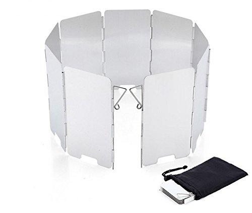 Camping Stove Aluminum Windscreen - 9 Plates Folding Camping Stove Wind Screen For Use with Solo Stove and Other Backpacking Stoves, Camping Stoves, Butane Stoves, Alcohol Stoves ,split furnace head