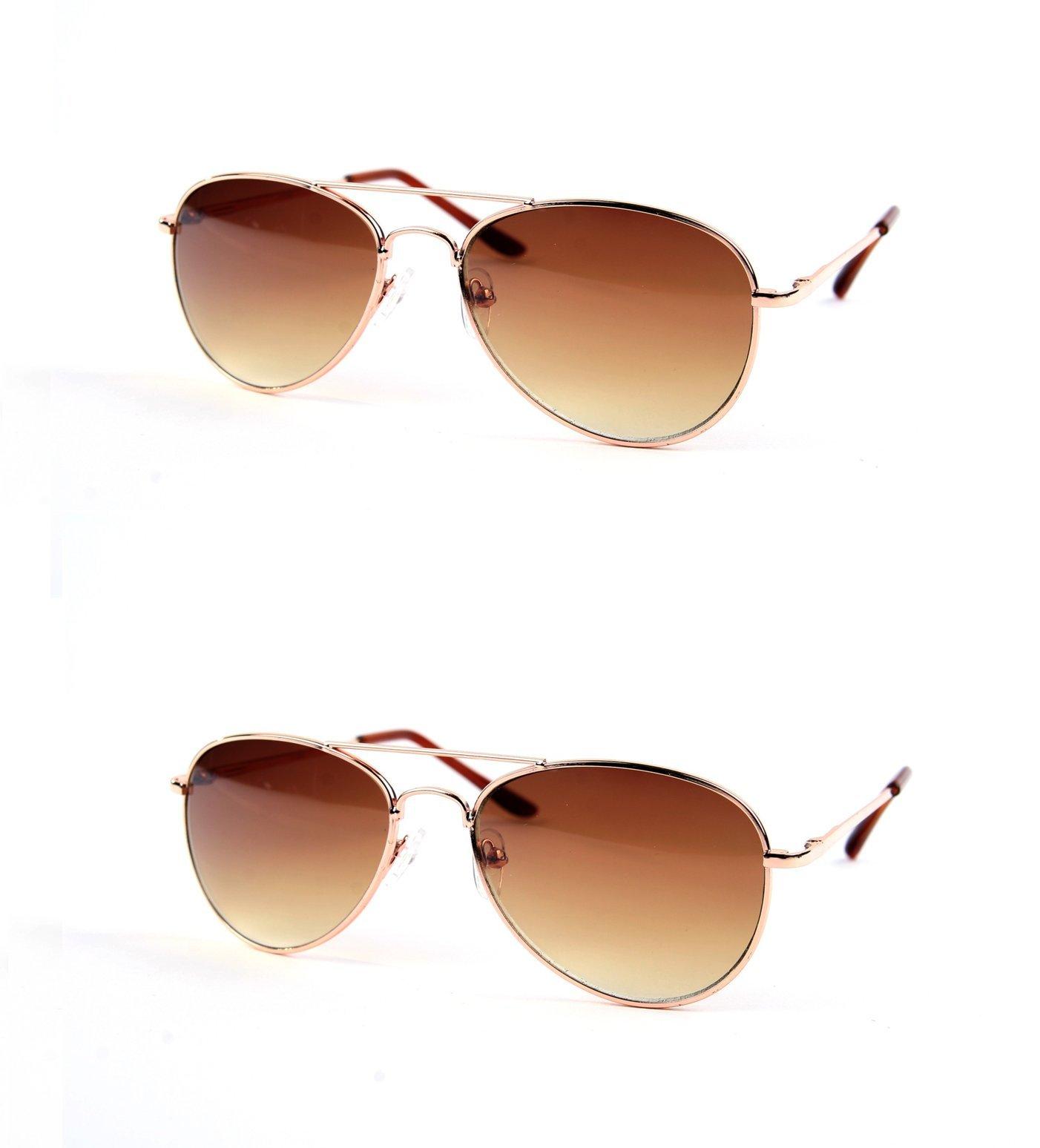 8e8bc242e692 Get Quotations · Children Metal Classic Aviator Color Lens Sunglasses P1302  (2 pcs GoldGradientBrown   GoldGradientBrown)