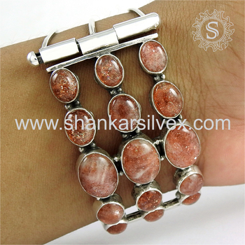 Graceful design sun stone bangle handmade 925 sterling silver gemstone jewellery exporters
