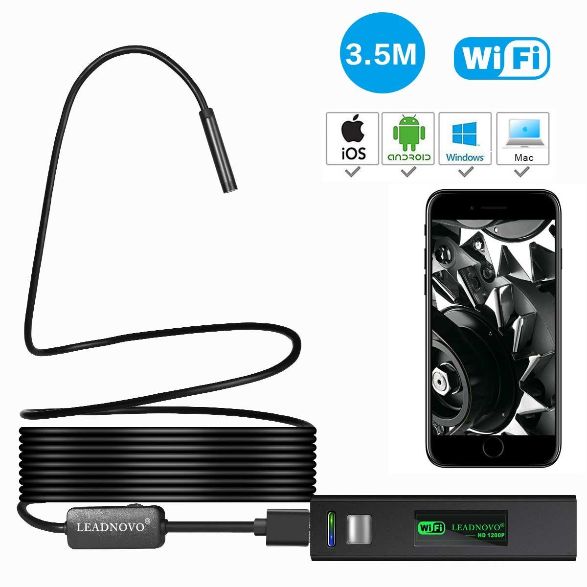 1200P Wireless Endoscope for iPhone Android, LEADNOVO WIFI Borescope Inspection HD Camera IP68 Waterproof Semi-rigid Snake Cable for IOS/MAC/Windows, Motor Engine/Sewer/Pipe/Vehicle-Black (11.5FT)