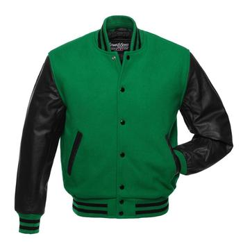 Genuine Leather Sleeve Letterman College Varsity Women Wool Green Jacket For Women