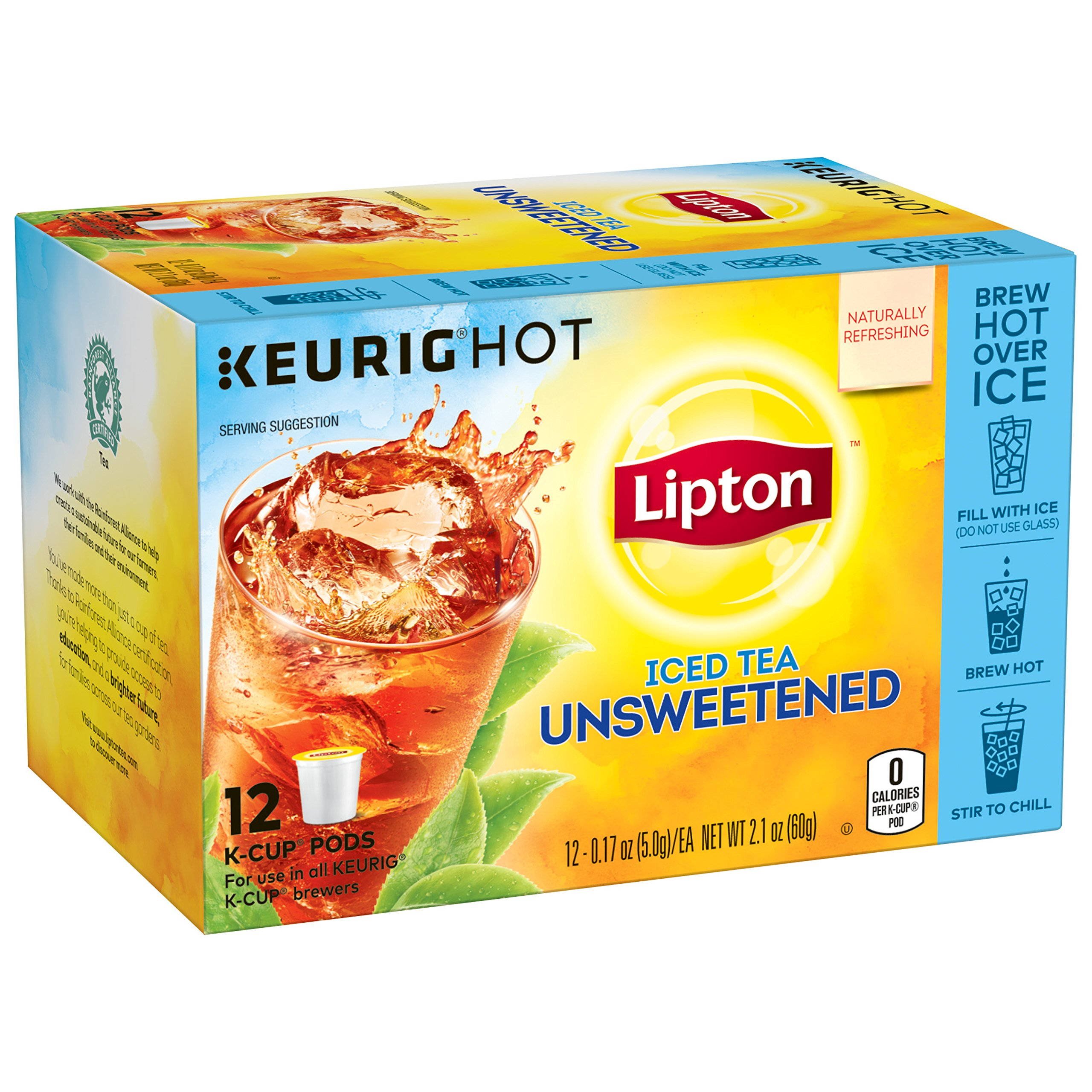 Lipton Iced Tea K-Cups, Iced Tea Unsweetened 12 ct (Pack of 6)