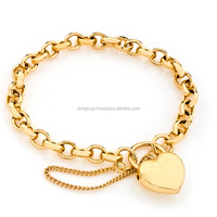 Gold Plated Womens Toggle Heart Charm Bracelet