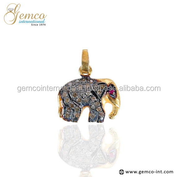 Animal 925 Sterling Silver Pave Diamond Elephant Charms Pendant