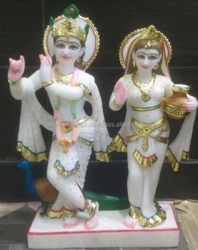 White Marble Radha Krishna Standing Statue Buy Decorative Radha