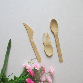 Nature color disposable bamboo short spork