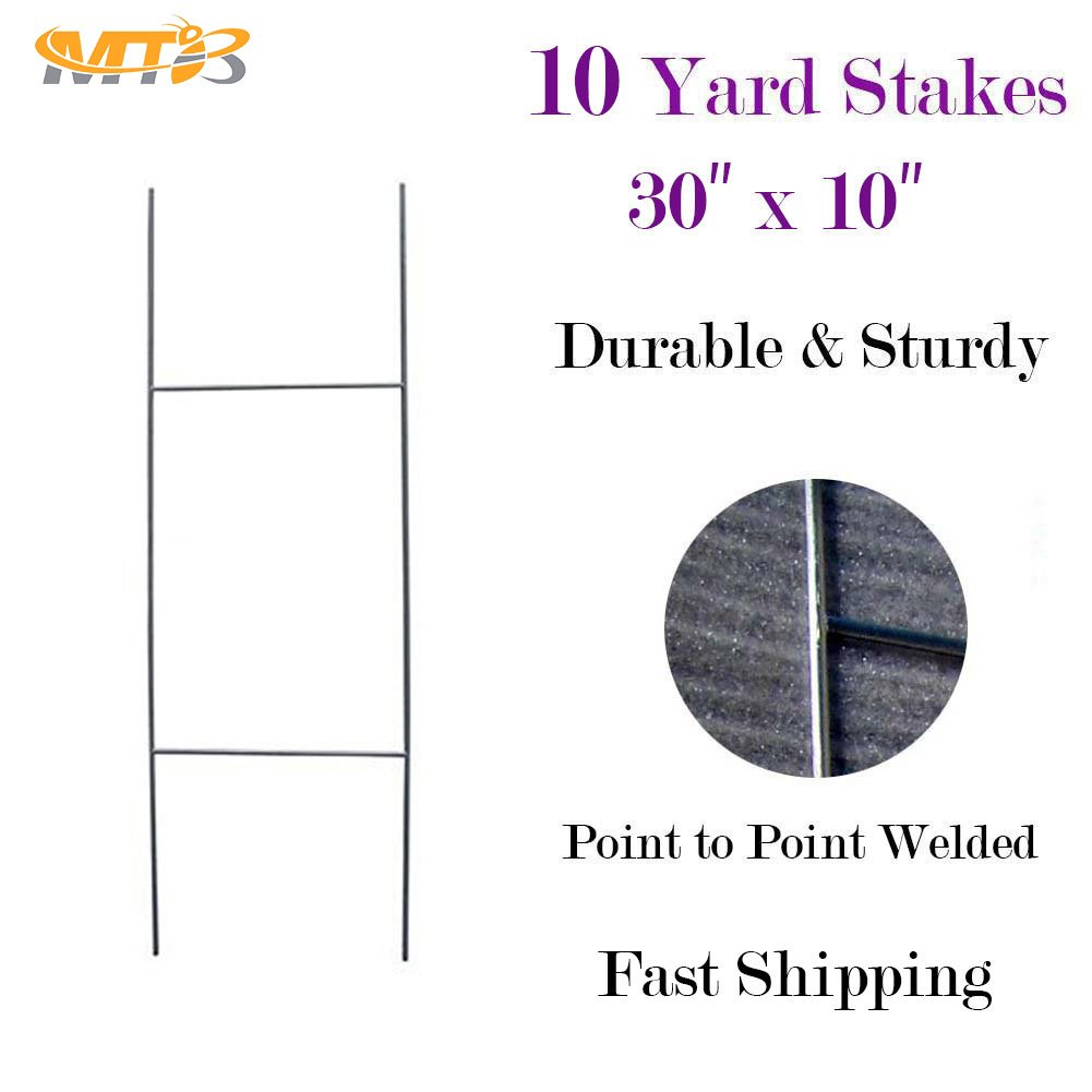 """MTB H Frame Wire Stake 30""""x10"""" (Pkg of 10) 9ga wire -Yard Sign Stakes for Real Estate,Wedding,Business,Political Campaign or Commercial Activities (Also Sold in Pack of 5/25/50/100)"""