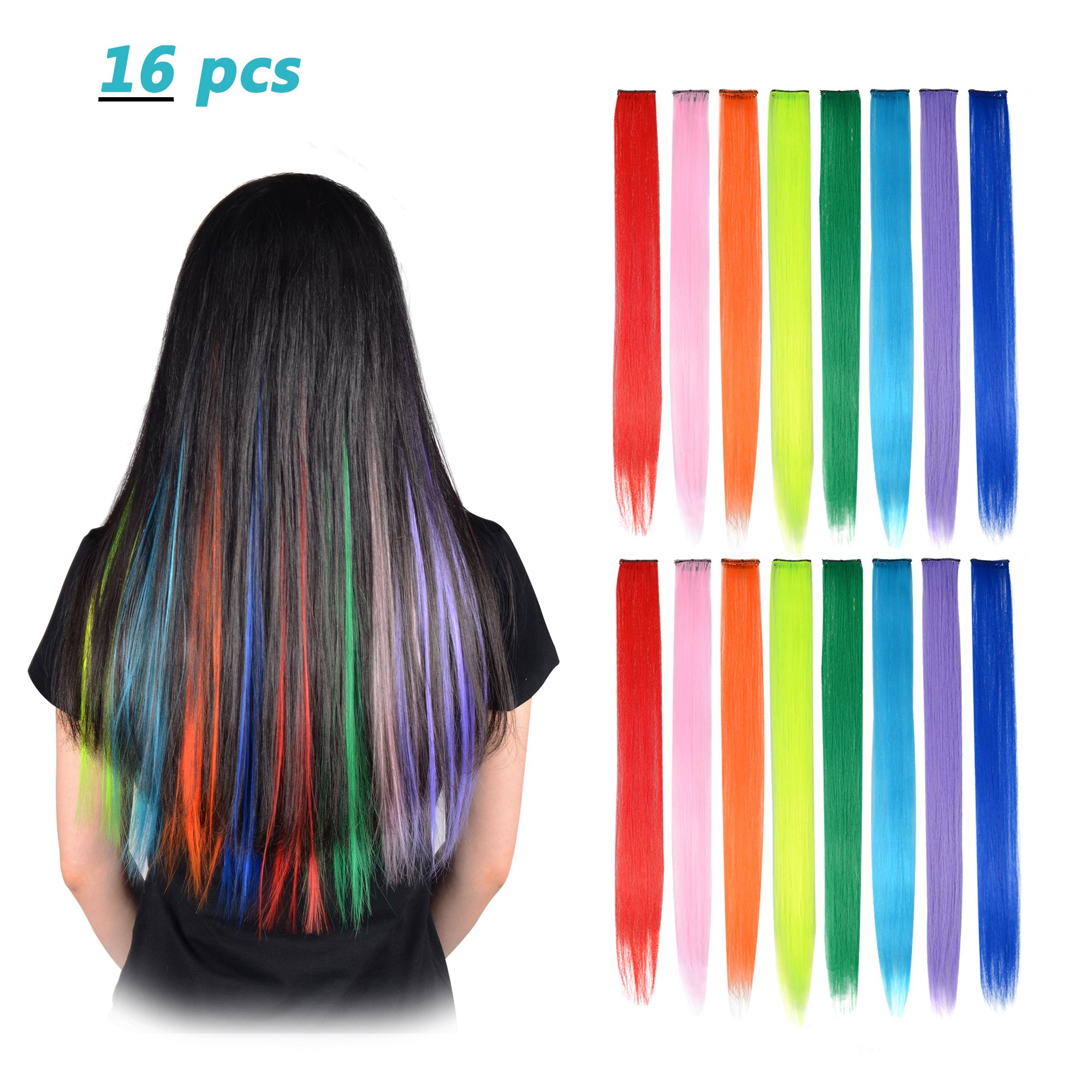 b9d3794b1 FESHFEN 20 Inch 16 Pcs 8 Colors Straight Clip in Hair Extensions Hair  Accessories Hair Pieces