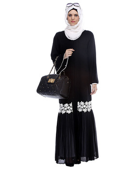 Coat Abaya Dubai Black Pleated Abaya Muslim Dress Islamic Clothing