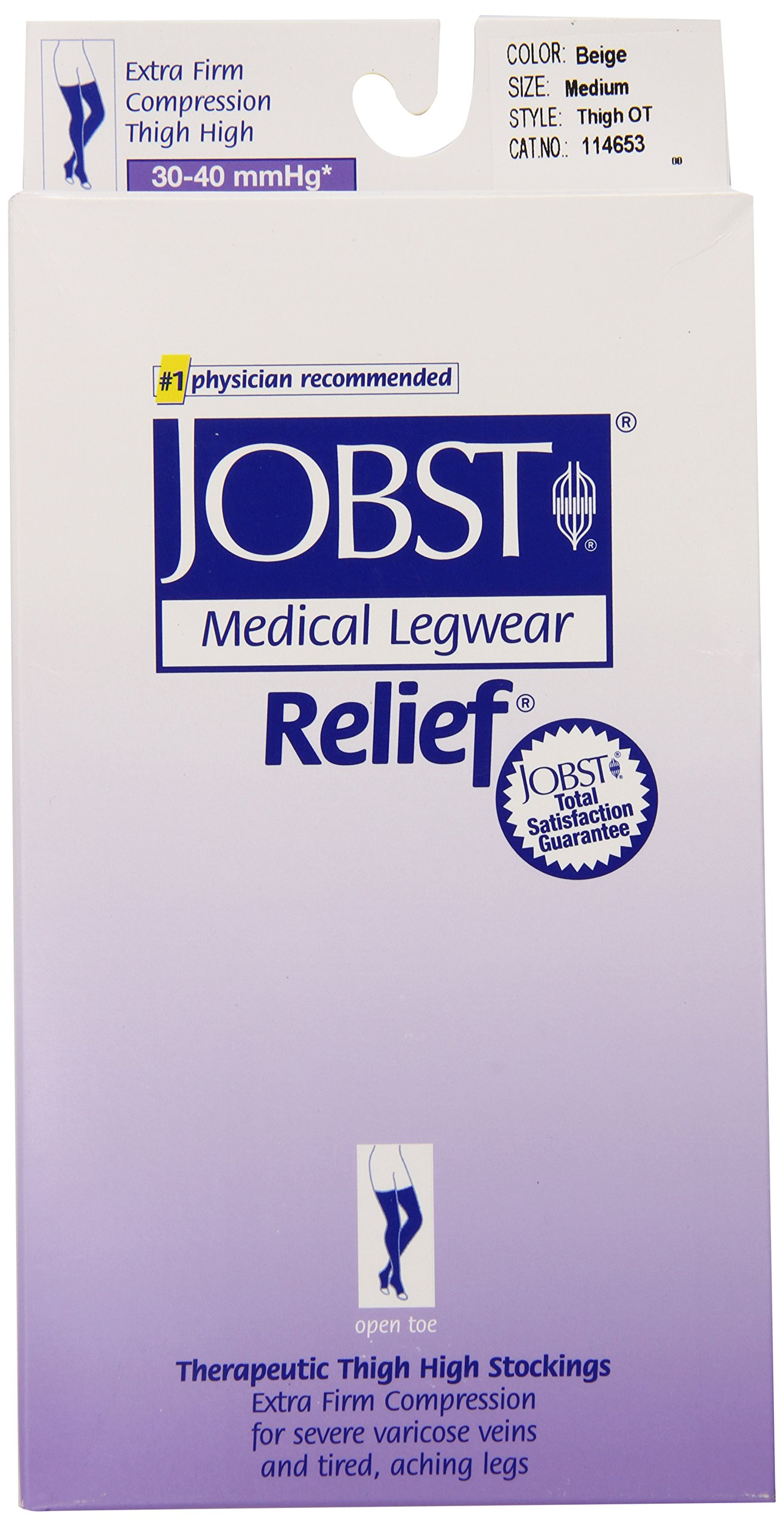 JOBST Relief Compression Stockings, 30-40 mmHg, Thigh High, Open Toe, Beige, Medium