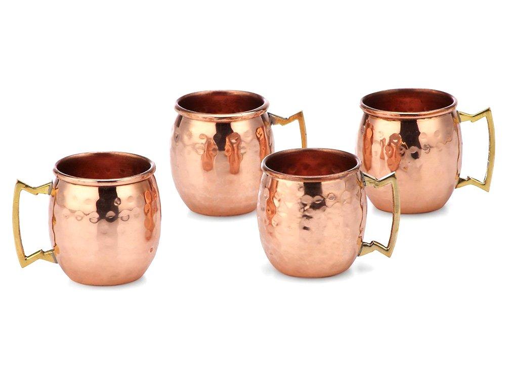 PARIJAT HANDICRAFT 2 Oz. Solid Copper Mini Moscow Mule Shot Mug, Set of 4 Authentic 100% Solid Copper Hammered Moscow Mule Mug 2-Oz Shot Glass - Set of 4
