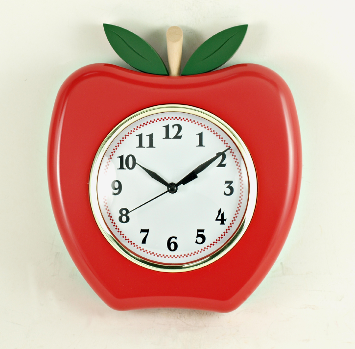 May Time Analog Sweep Silent Apple Shape Wall Clock Buy Silent