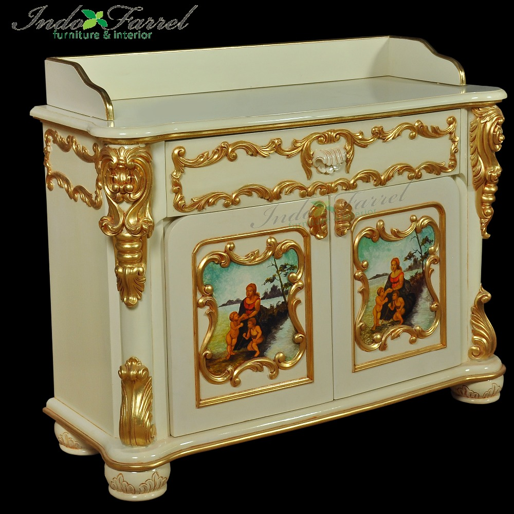 Italian Luxury Antique Wooden commode cabinet with hand painted Living Room Furniture