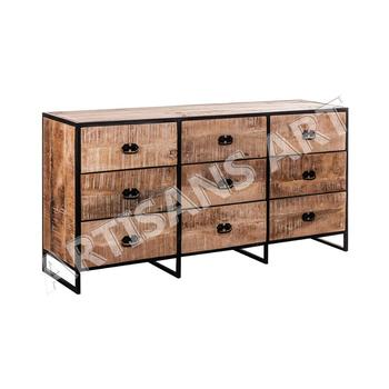 Industrial Metal Wood 9 Drawer Chest Vintage Living Room Drawer Cabinets View Antique Furniture Artisans Art Product Details From Artisans Art On
