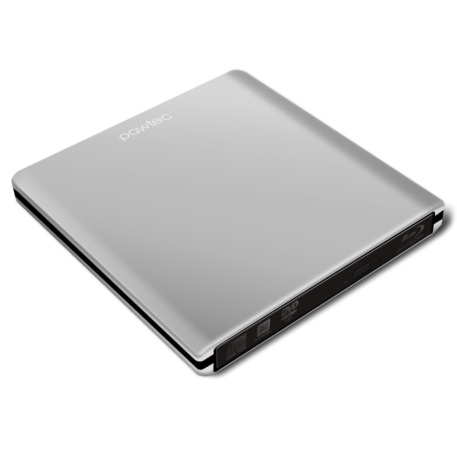 Pawtec External USB 3.0 Aluminum 6X BDXL 3D Blu-Ray Writer / Burner for PC Windows or Apple Mac iMac MacBook (Silver)