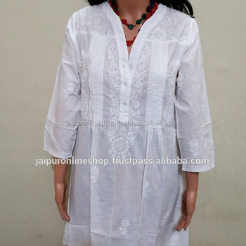 Women Wear Fashion White Beach Tunic Cotton Kurti Designer Top