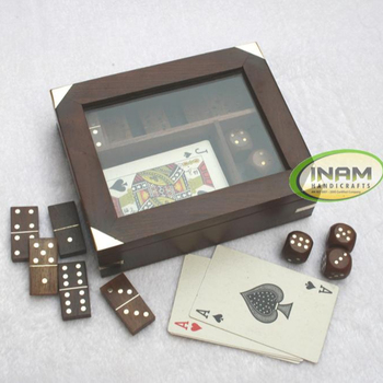 Handmade sheesham wood 3 in 1 Game box set / Wooden Domino set, Wooden 5 Dices set, playing cards set
