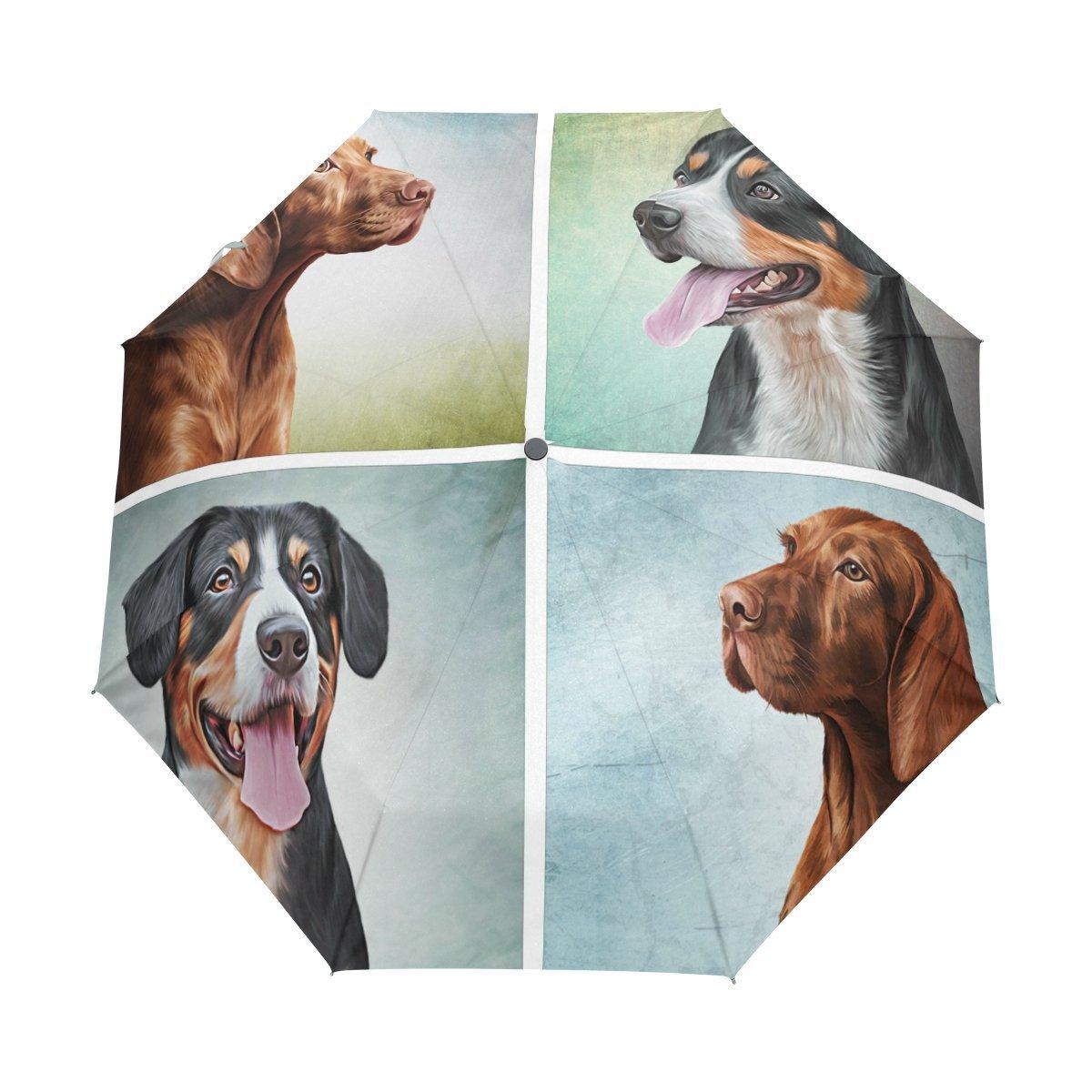 WOZO Funny Dog Puppy Dachshund Pug 3 Folds Auto Open Close Umbrella