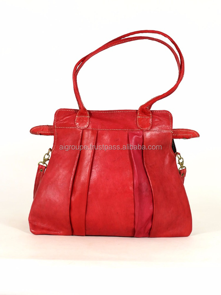 soft Leather handbag , New arrival Red leather handbag bag with handles and strap