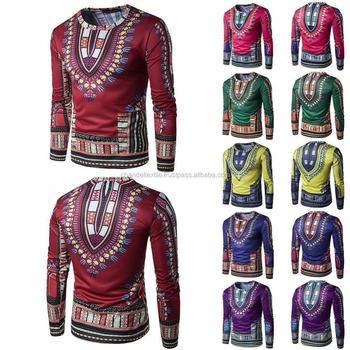 T-shirt À Manches Longues pour hommes Africains Tribal Ethnique Dashiki  Impression Hippie Décontracté Hommes 3fb6a593c28