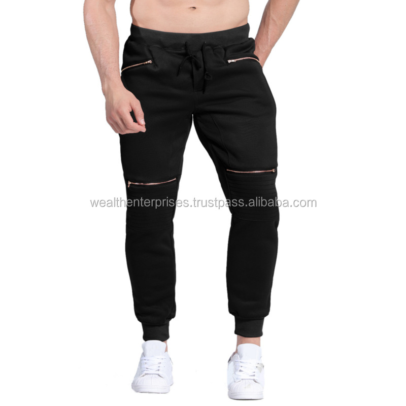Black color fleece trouser with knee zippers/Fashionable black color sweat pants with knee zippers