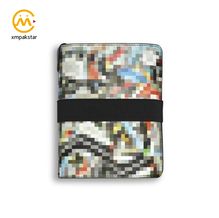 Customized mosaic printed pu cover pocket notebook travel journal with elastic belt
