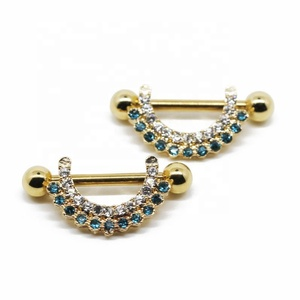 Gold plated surgical steel nipple rings body jewelry with shinny gems