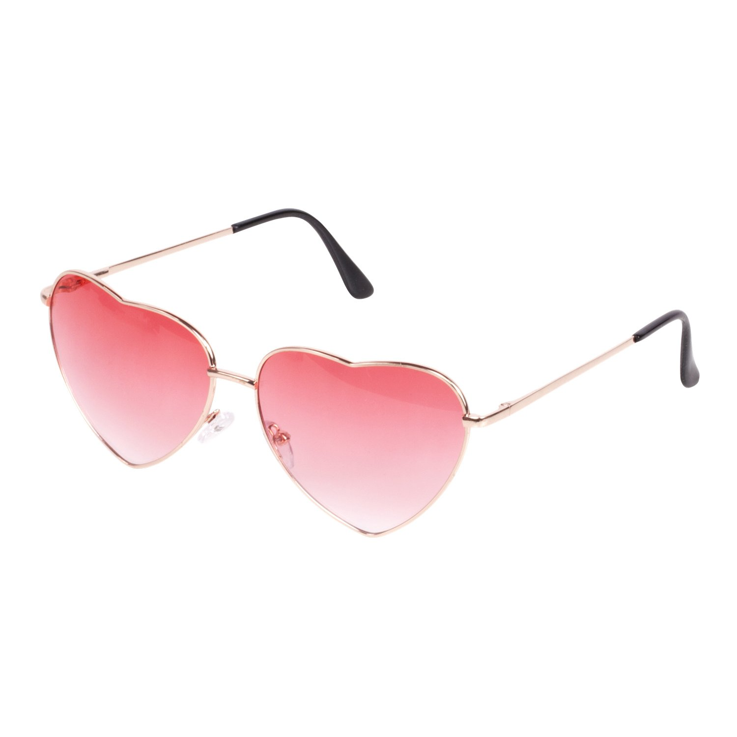 86d5881714 Get Quotations · CENWOCON Heart Shape Sunglasses Beach Vacation Sunglasses  Gold Frame