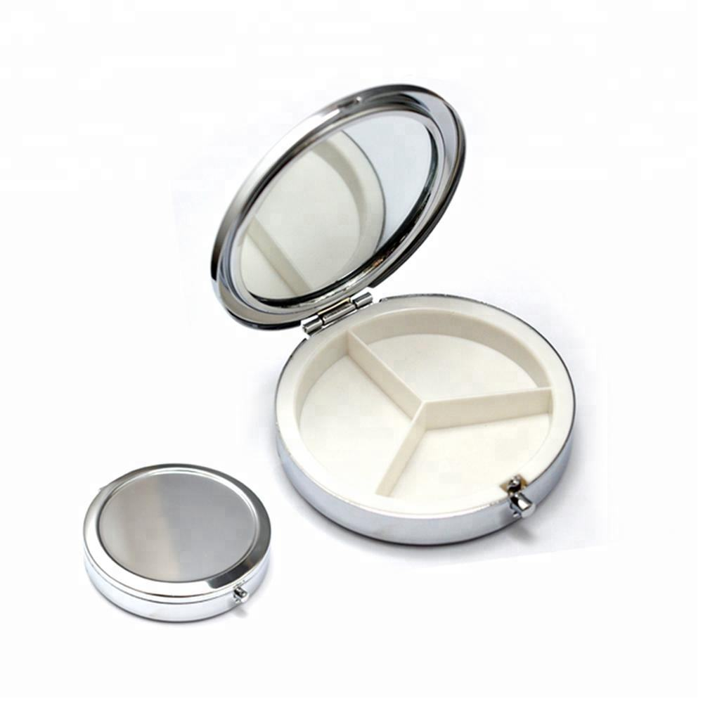 Promotion gift 3 compartments custom stainless steel metal portable pill case pill storage box