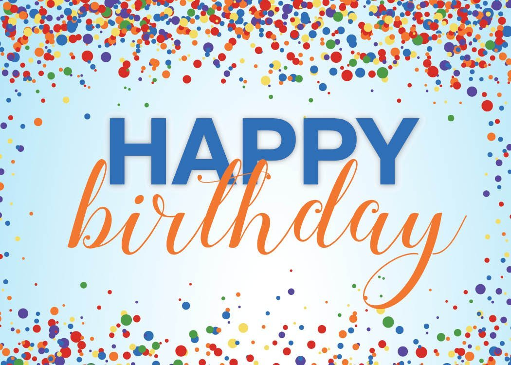 Birthday Greeting Cards - B1701. Greeting Cards Featuring Colorful Confetti Surrounding a Birthday Message on a Blue Background. Box Set Has 25 Greeting Cards and 26 Bright White Envelopes.
