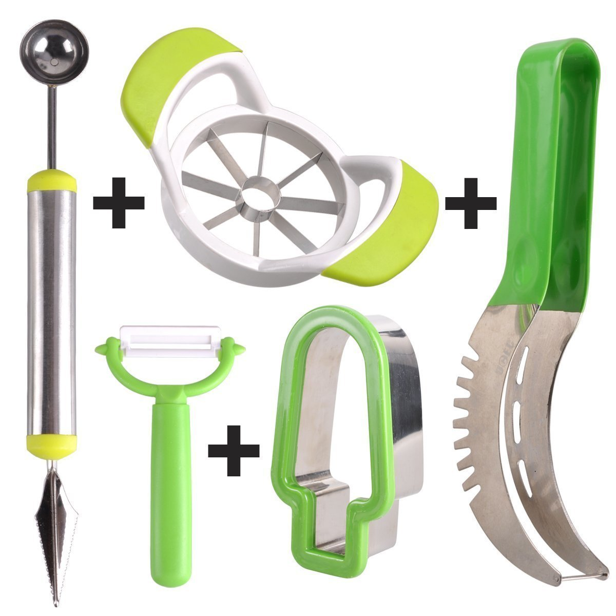 UCEC 5 in 1 Melon Slicer,Melon Cutter, Melon Baller and Fruit Carving Knife, Safe & Sturdy for Family, Party Used