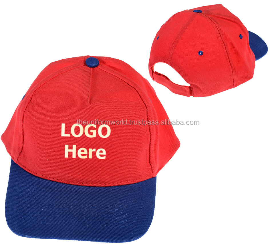 Customized 2-Tone Red-Blue Baseball Caps Hats Adult Size 5-Panel Embroidered 1a37756e6c3