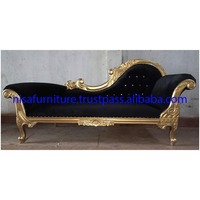 Indonesia Wedding Black Velvet Antique Chaise Lounge Sofa Chair Furniture otherhomefurniture
