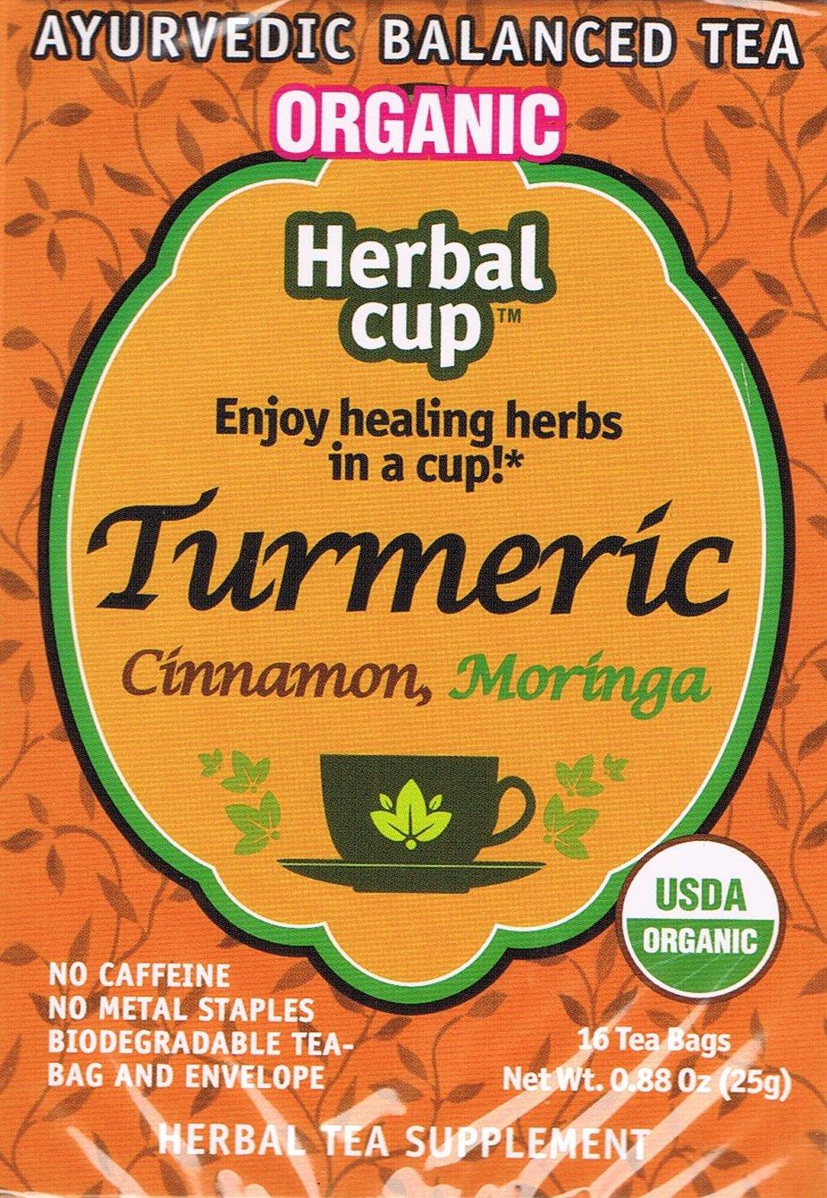 Herbal Cup Herbal Tea, Organic Turmeric Cinnamon, Moringa Tea - (16 tea bags in 1 box)