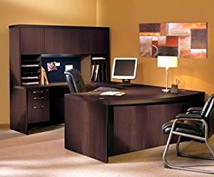 "Mayline U Shaped Desk W/Hutch Office Desk Dimensions: 72""W X 114""D (Back Of Credenza To Front Of Desk) X 68 5/8""H Desks Feature Durable 1 5/8"" Thick Surfaces - Mocha"