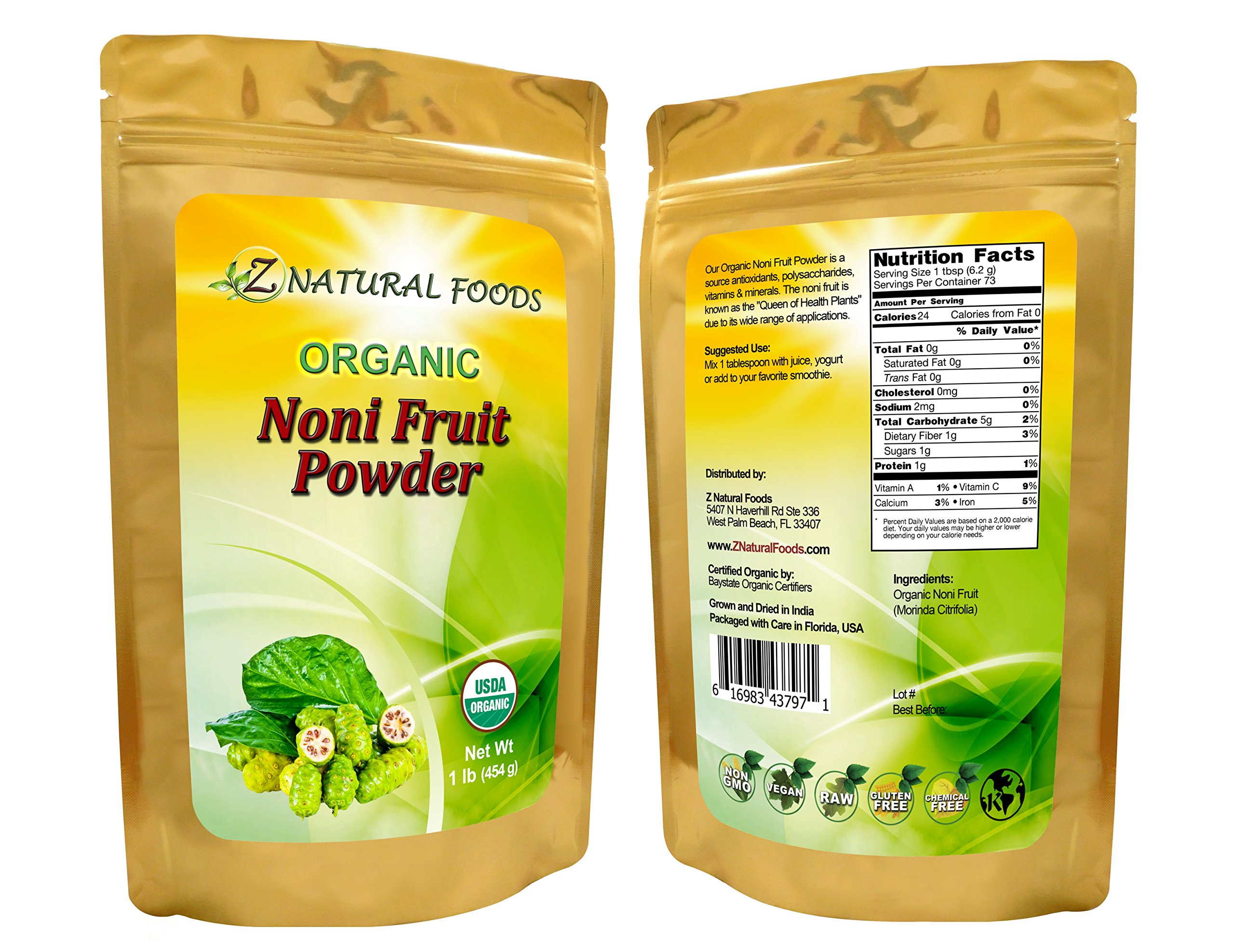 USDA Certified Organic Fresh Noni Fruit Powder - Superfood, Non-GMO, Raw, Pure, 73 servings (1 lb)