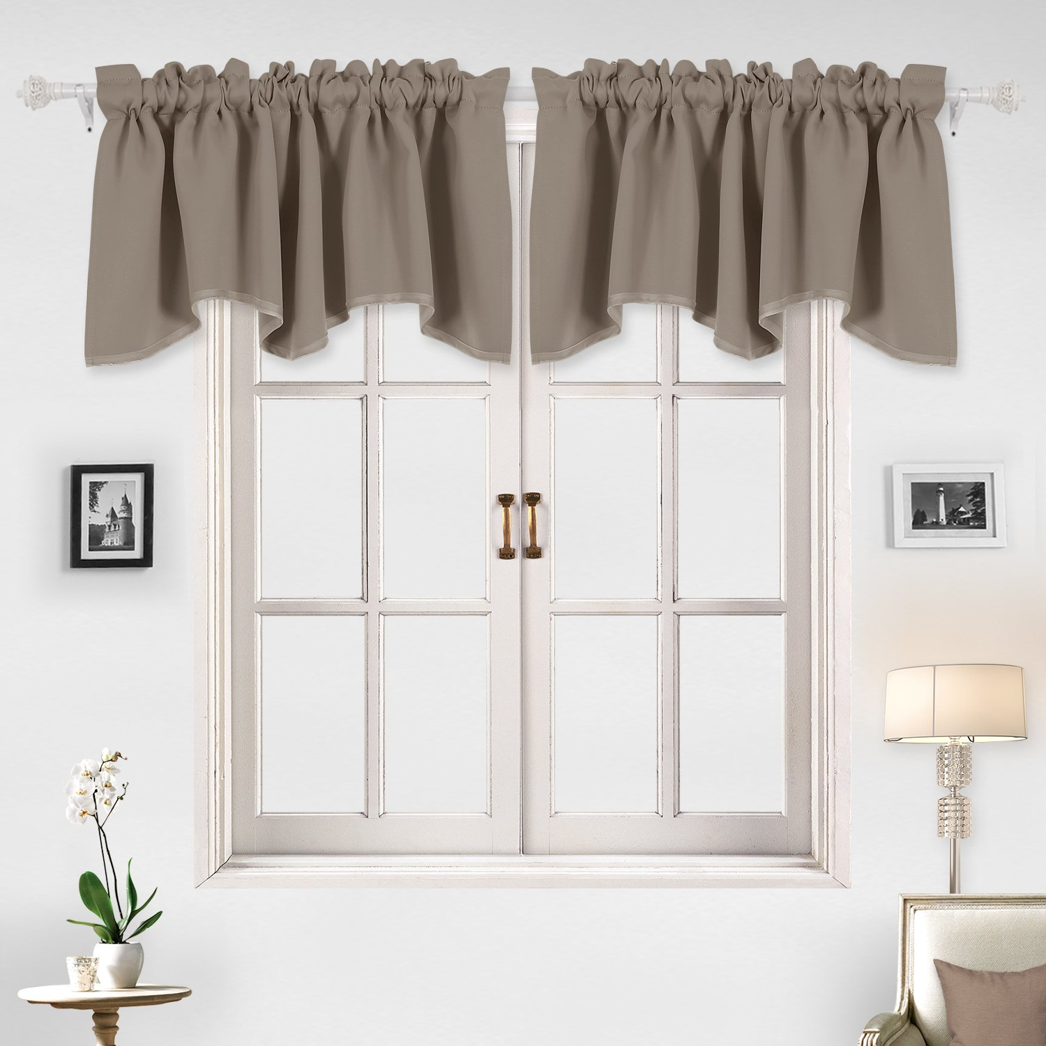 Deconovo Decorative Rod Pocket Blackout Curtains Valances Window Treatments Scalloped Blackout Drapes for Study 52 X 18 Inch Khaki 1 Panel