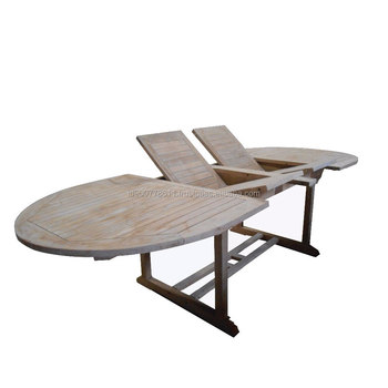High Quality Teak Wood Oval Extension Garden Dining Table Outdoor
