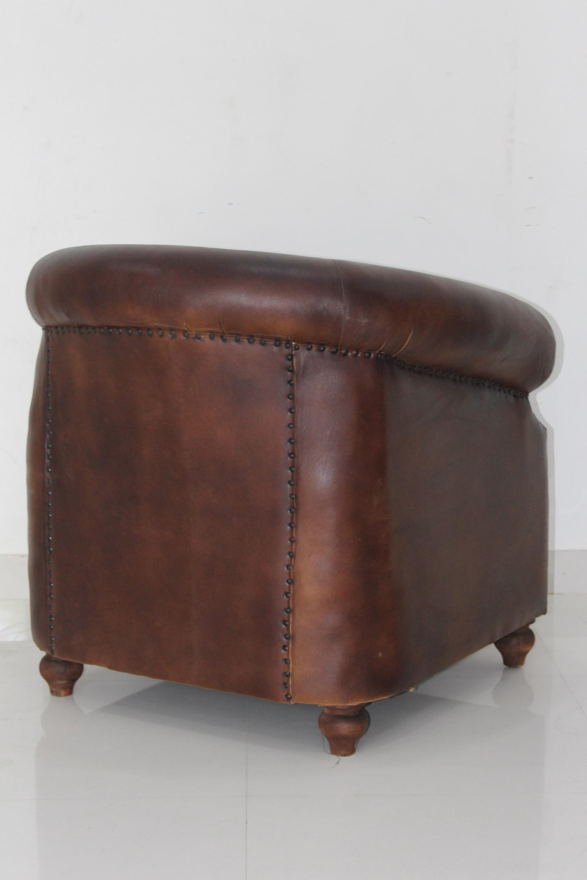 Vintage Genuine Leather Club Chair 2017 New Design Living Room Single Seat  Sofa Arm Chair