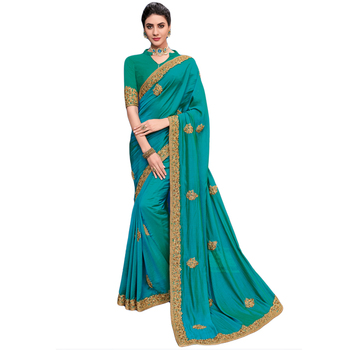 Fab Green Colour Party Wear Saree.